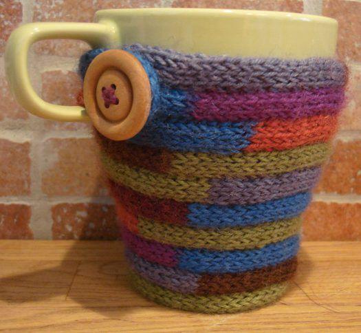Free Knitting Pattern For I Cord Mug Cozy Stashbuster Knitting