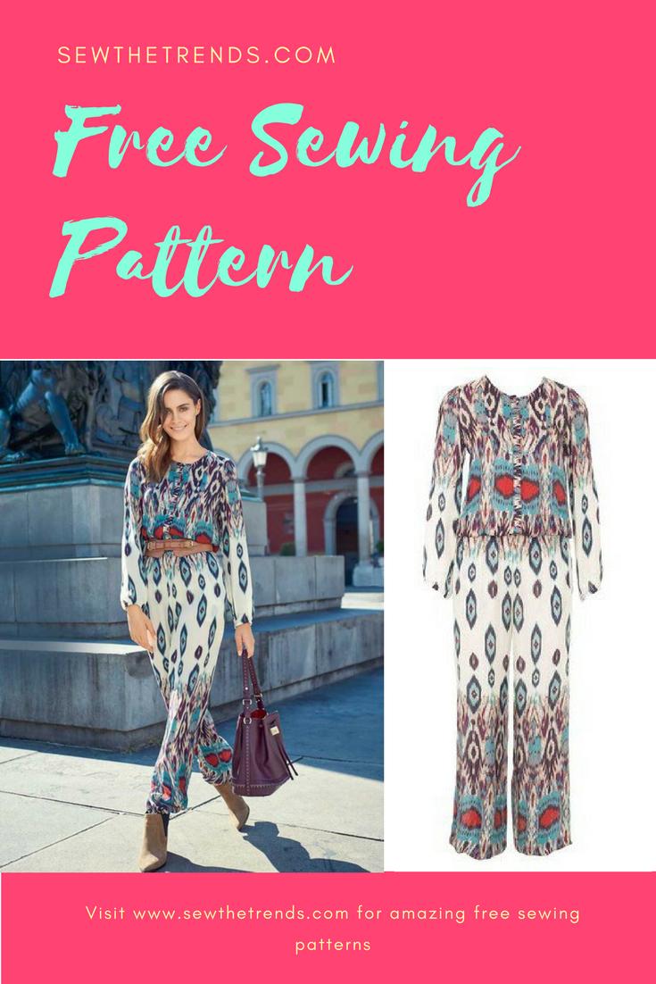 Printed jumpsuit sewing pattern free sewing patterns sewing printed jumpsuit sewing pattern free jeuxipadfo Gallery
