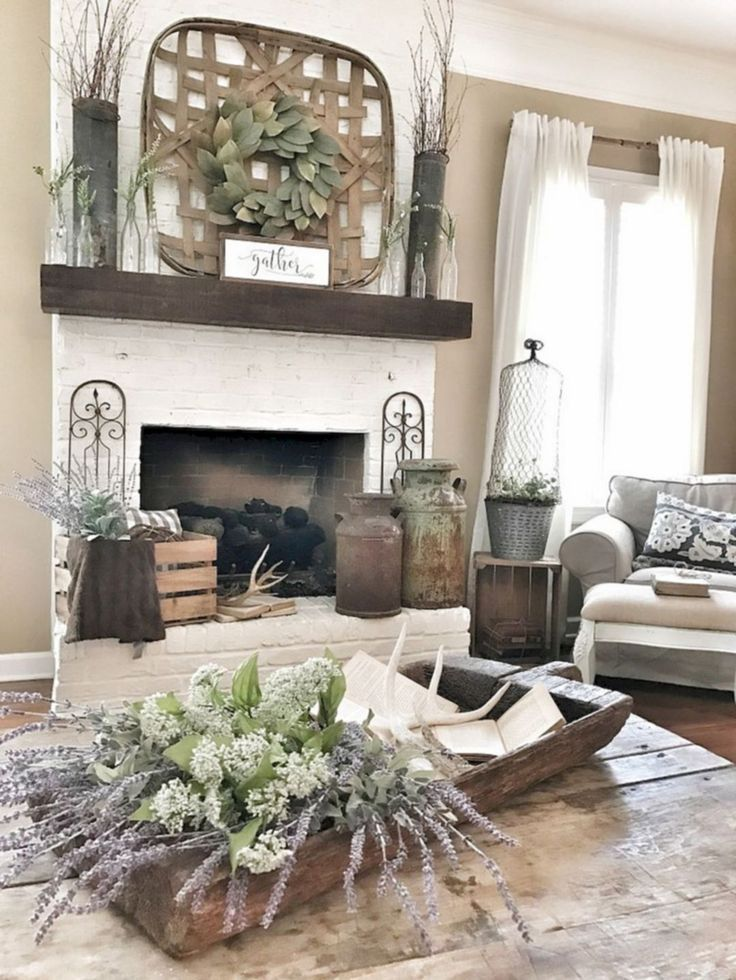Astonishing 20+ Rustic Farmhouse Living Room Decorating Ideas With Fireplace images