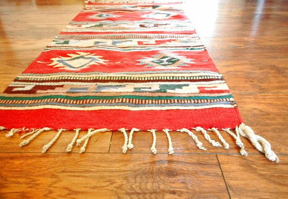 Navajo Woven Rug Vintage Fringe Throw Rug Red Pink