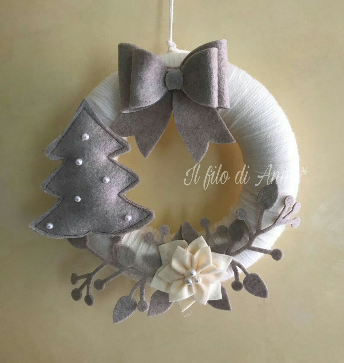 Ghirlanda feltro lana fiocco alberello stella natale rami wreath advent pinterest natale - Pinterest natale ...