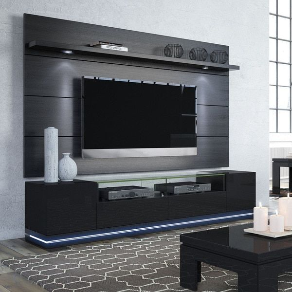 Manhattan Comfort Vanderbilt TV Stand And Lincoln 2.2 Floating Wall TV Panel  With LED Lights