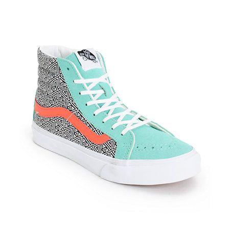 Vans Girls Sk8 Hi Slim Geo Cockatoo & Hot Coral Skate Shoe