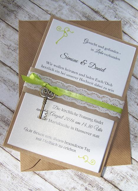 Einladung Zur Hochzeit Mit Spitzen Banderole In Kraft Schlüssel