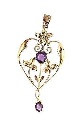 Antique Heart Lavaliere Lavalier Pendant 9K Yellow Gold Necklace | eBay