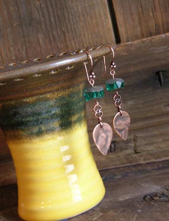 Green Cut Glass and Copper Earrings by HuntandGatherStyleDS
