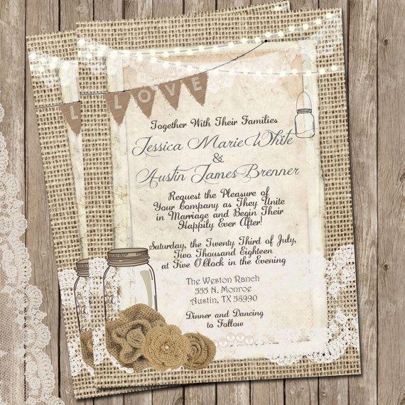 Digital Wedding Invitation Ideas: Rustic Burlap And Lace Wedding Invitation, Invite, Mason