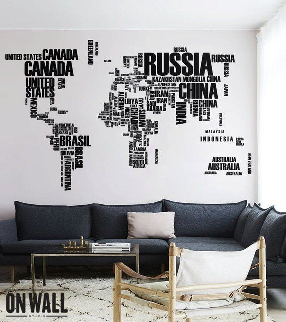 world map wall decal with country names removable vinyl map wall