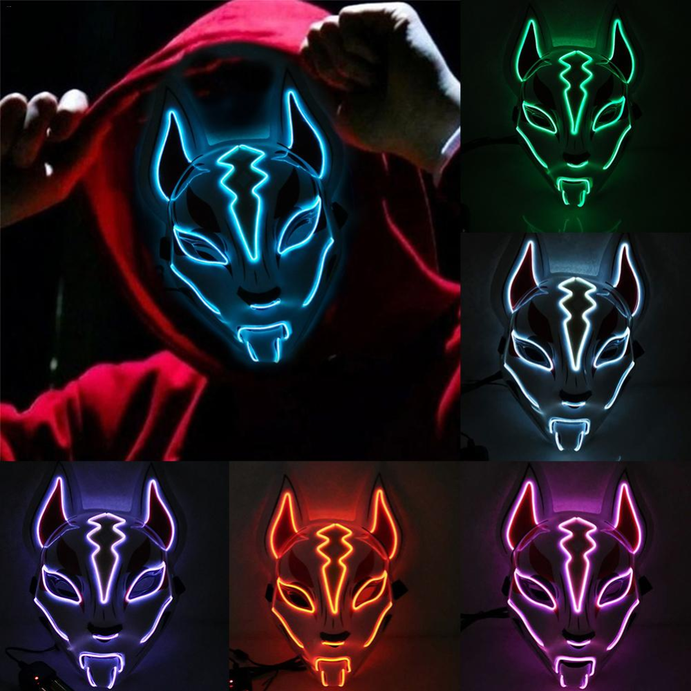 Halloween Cold Light Mask Prom Party Fox Na01 Animal Paintings Animal Masks Halloween Led Lights