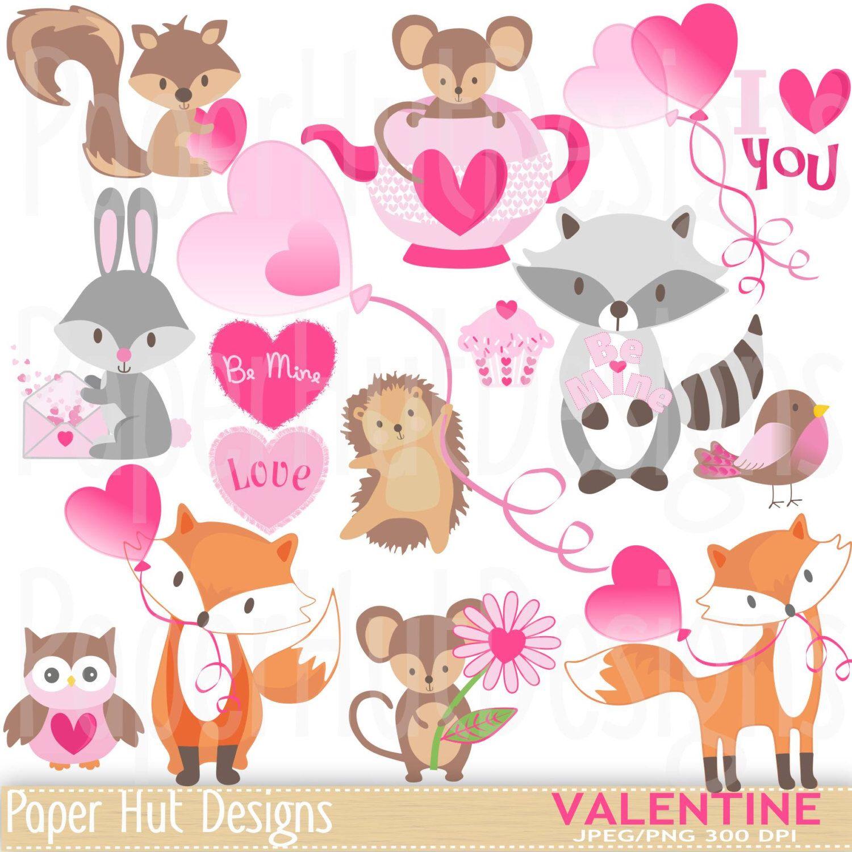 Valentine Clipart Cute Valentine Animal Clip Art Rabbit Mouse Owl