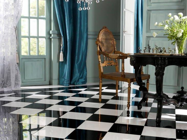 Leroy Merlin : carrelage damier en marbre brillant en noir et ...