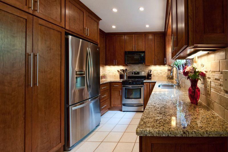 Newcreationsaustin.com Austin Kitchen Remodel   Granite Counter Tops, Dark  Wood Cabinets, Travertine