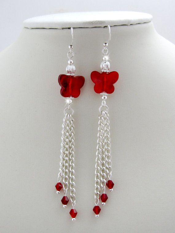 Cherry Crystal Butterfly Tassel Earrings  red by OohlalaBeadtique, $8.00