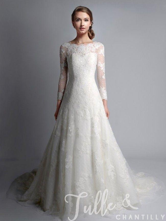 Elegant Vintage Bateau Neck Long Sleeves Lace Wedding Gown TBQWC