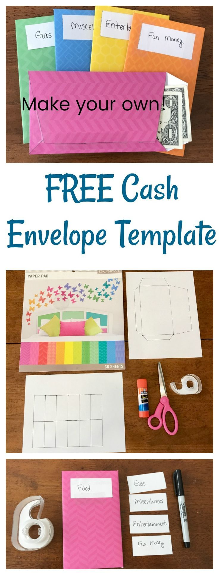 Learn how to make your own cash envelopes with FREE
