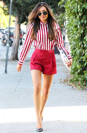 6782b7a311b Glee star Naya Rivera rocks a bold look in red short shorts   a striped  button up