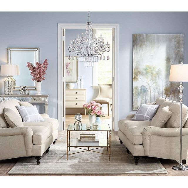 Delightful Add Sparkle To Your Living Room With A Crystal Chandelier. Use Two  Identical Sofas For Idea