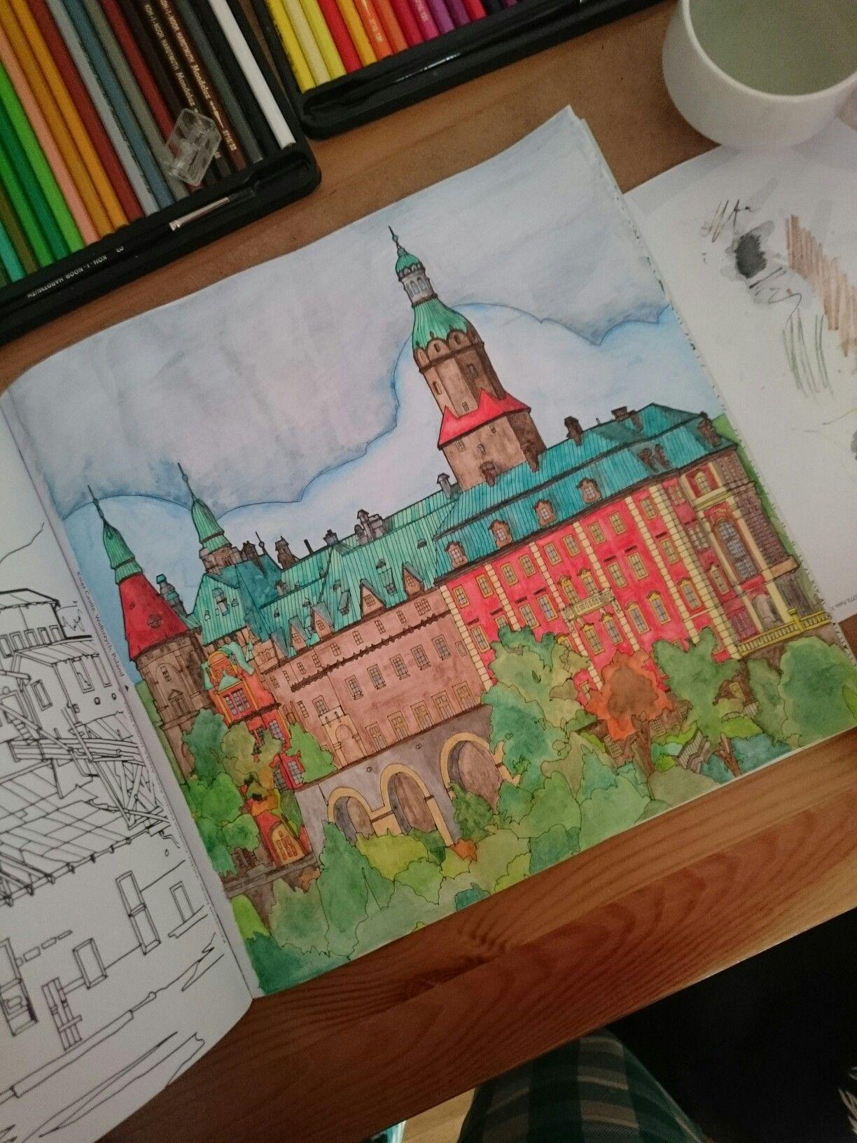Ksiaz Castle Poland Fantastic Structures Coloring Book Watercolour Pensils