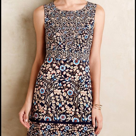 """Anthropologie Blue Floral Dress by Maeve Great go to dress!  only worn once and in mint condition. Made of woven polyester, with polyester lining. The dress had a slim sheath silhouette, side pockets, and back zip--measures 35"""" in length. Anthropologie Dresses Mini"""
