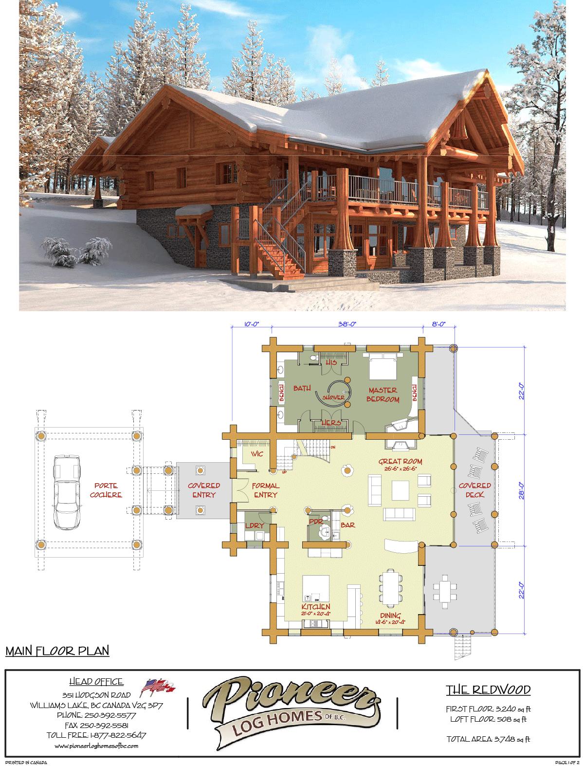 Pioneermidwest Redwood 1 1 Cabin House Plans Building Plans House Log Home Floor Plans