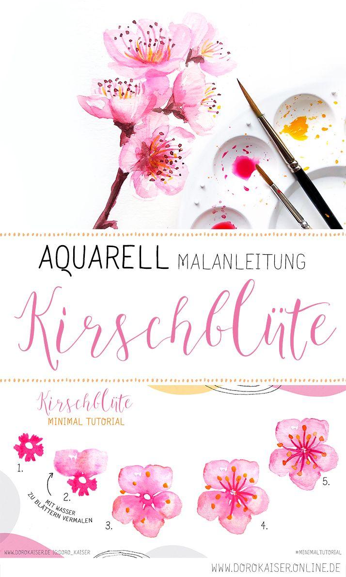 Aquarell Malanleitung: Kirschblüte