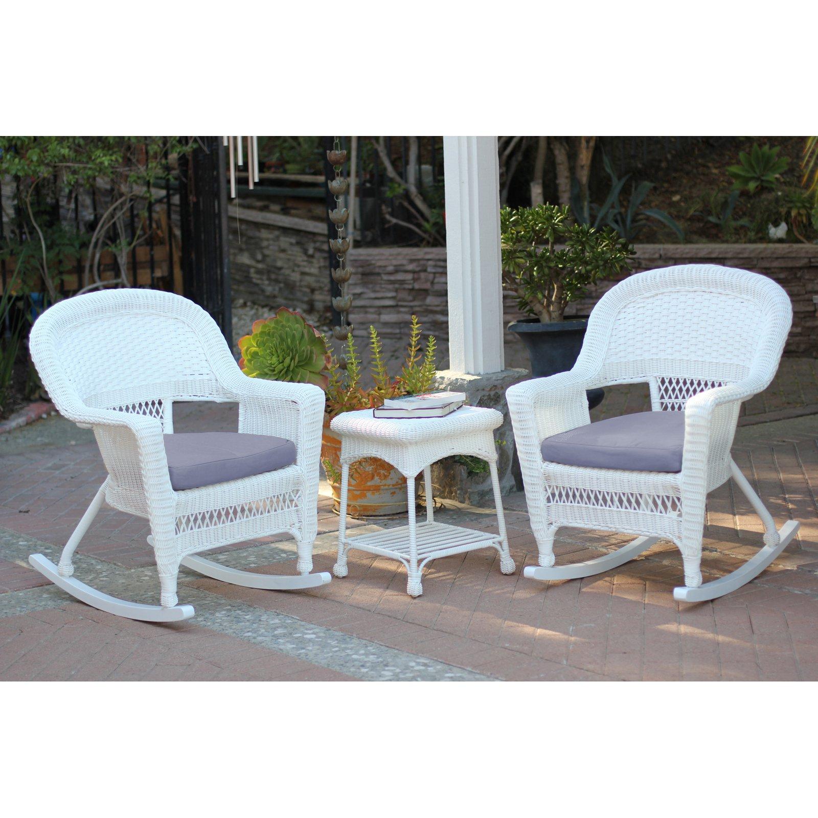Outdoor Jeco 3 Pc Wicker Rocker Chair Set With Side Table Purple In