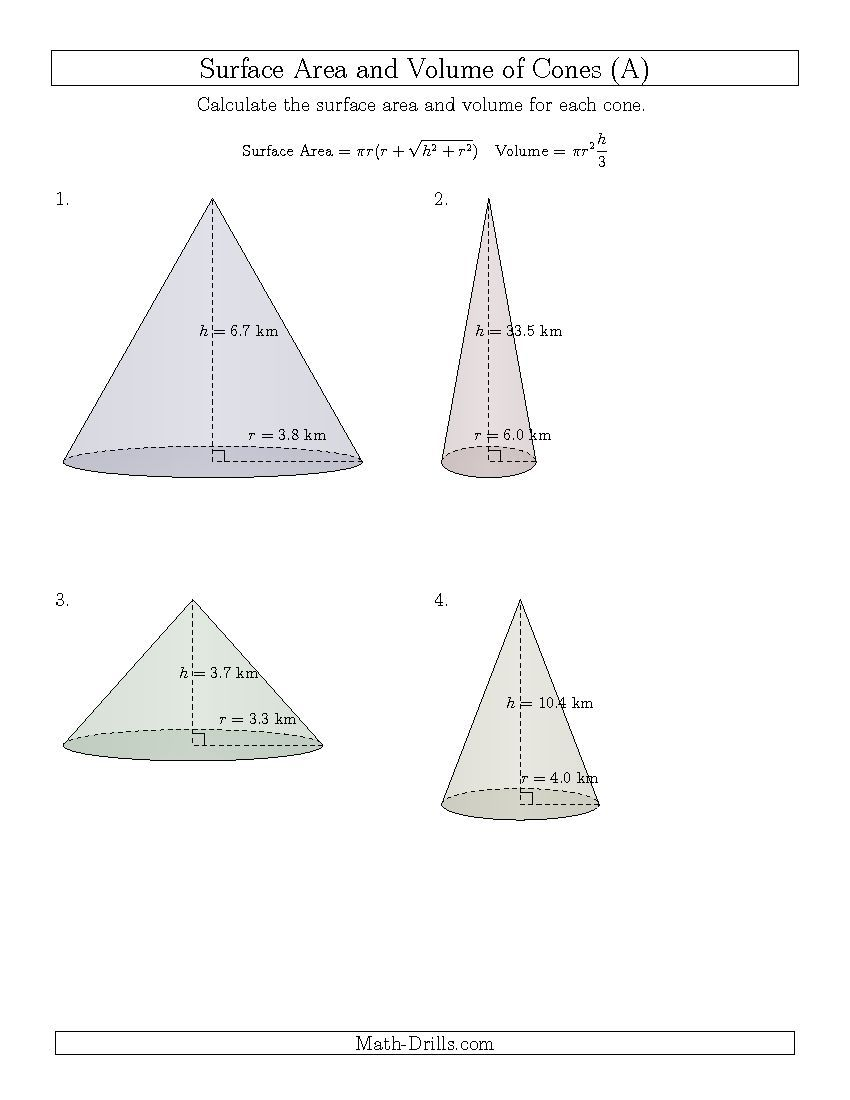 New 20150320 Volume and Surface Area of Cones One Decimal – Volume of Cone Worksheet