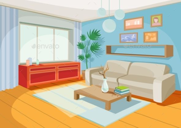Vector Illustration Of A Cozy Cartoon Interior Of A Home Room A Living Room With A Sofa Coffee Table Living Room Vector Interior Interior Designers In Delhi
