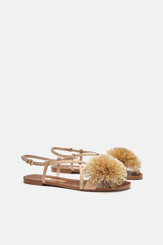 Image 3 of from Zara | Pom pom sandals