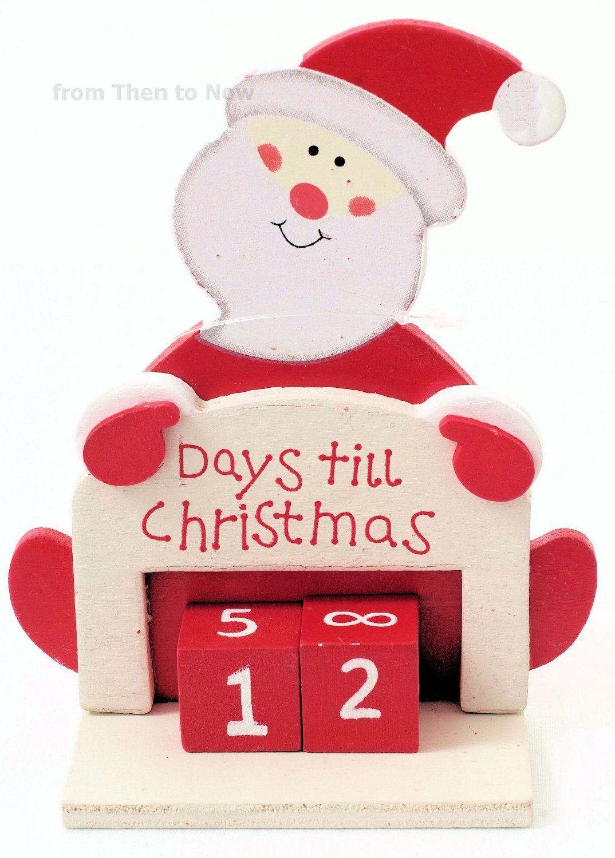 Days Til Until Christmas Advent Xmas Wooden Santa Countdown Calendar: Amazon.co.uk: Kitchen & Home