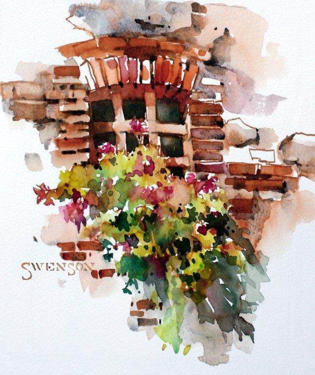 Vignette Watercolor Architecture Watercolor Art Watercolor