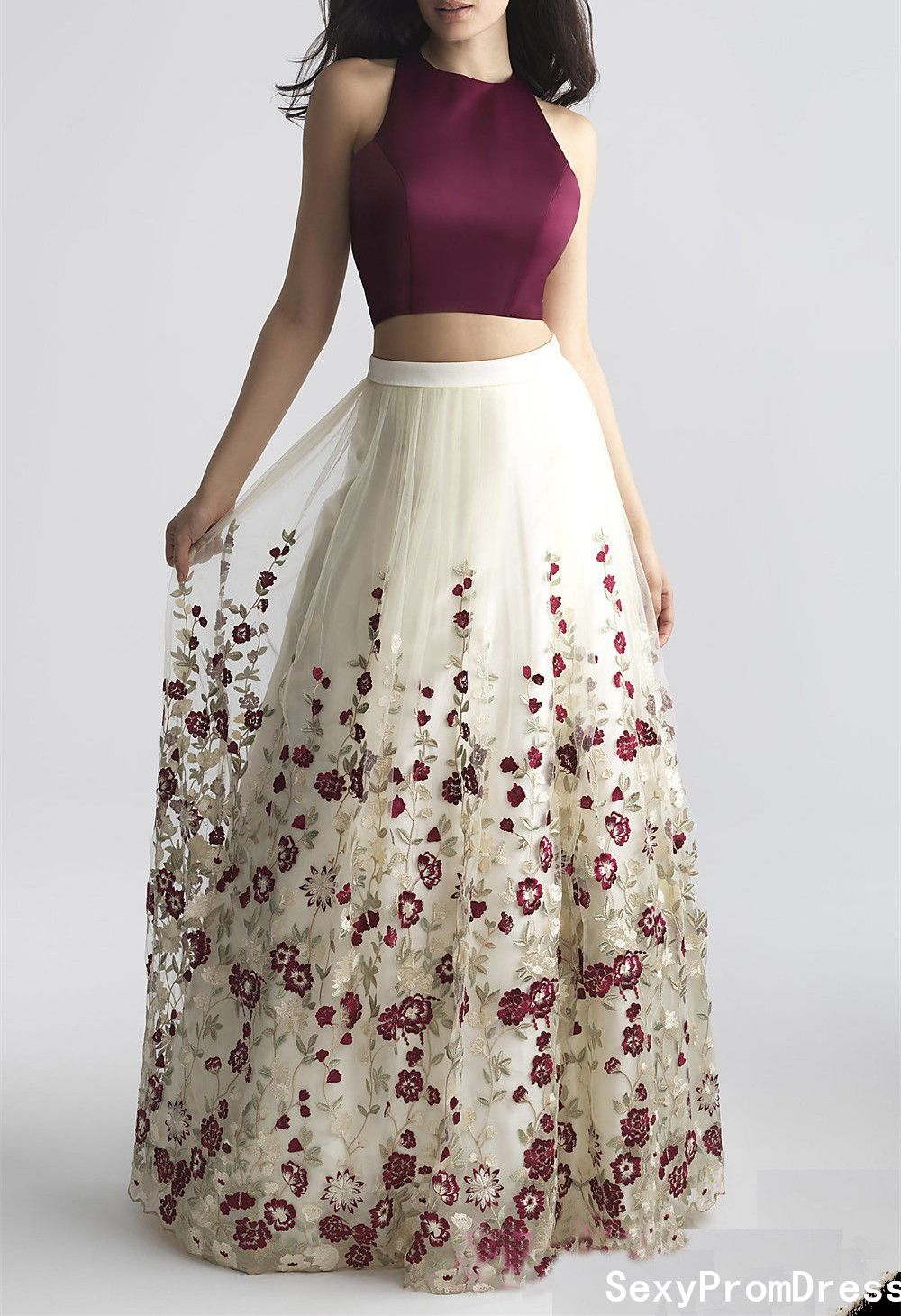 Charming twopiece prom dressaline prom dress with embroidery