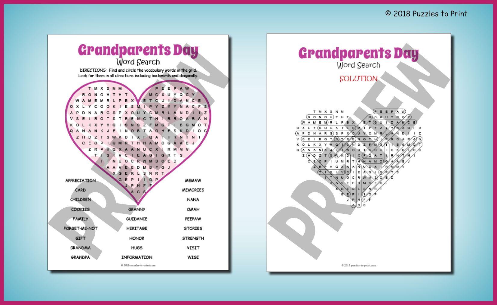 No Prep Grandparents Day Word Search Fun