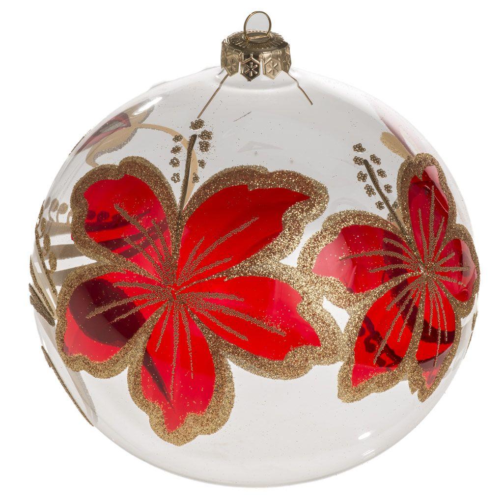 cc58c03f71c Bola de navidad vidrio soplado transparente flores rojas 15 cm ...