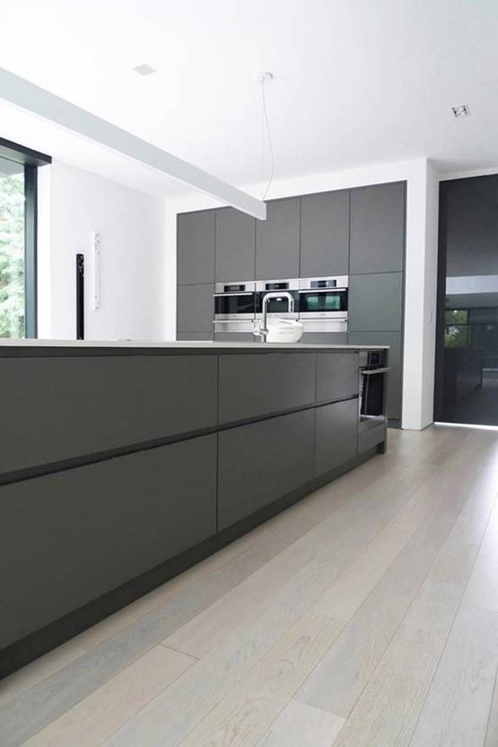 Grey Kitchen Ideas Stainless Steel Appliances No Handle Bars On