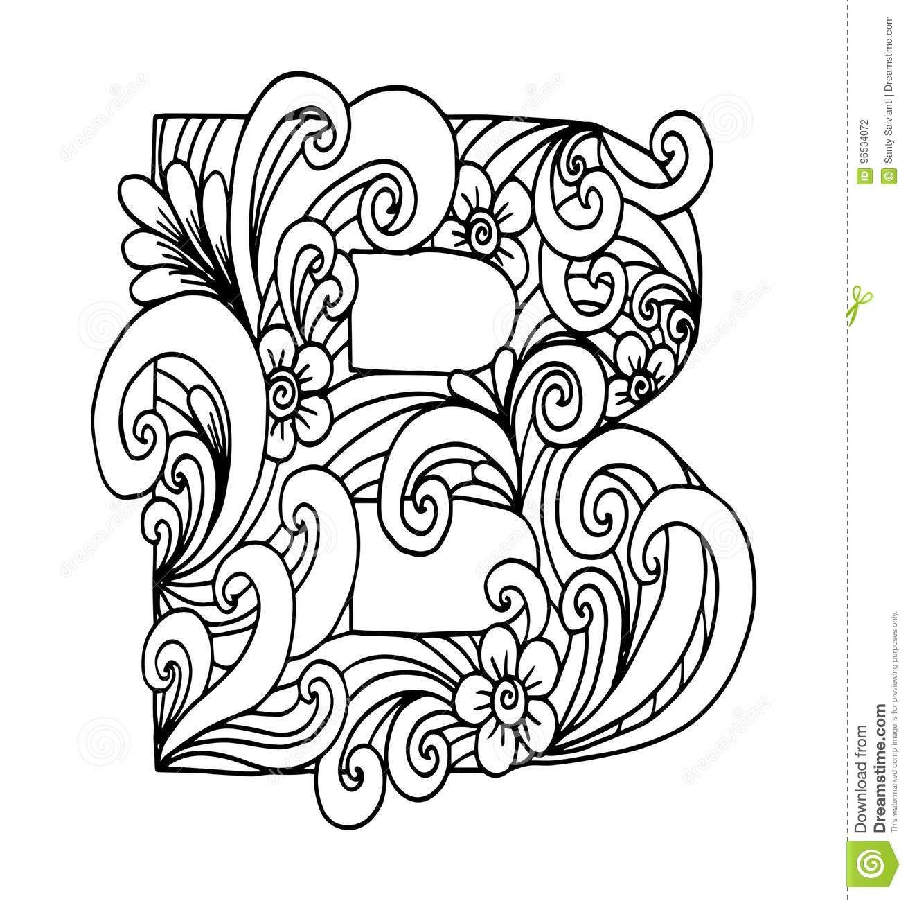 Zentangle Stylized Alphabet Letter B In Doodle Style