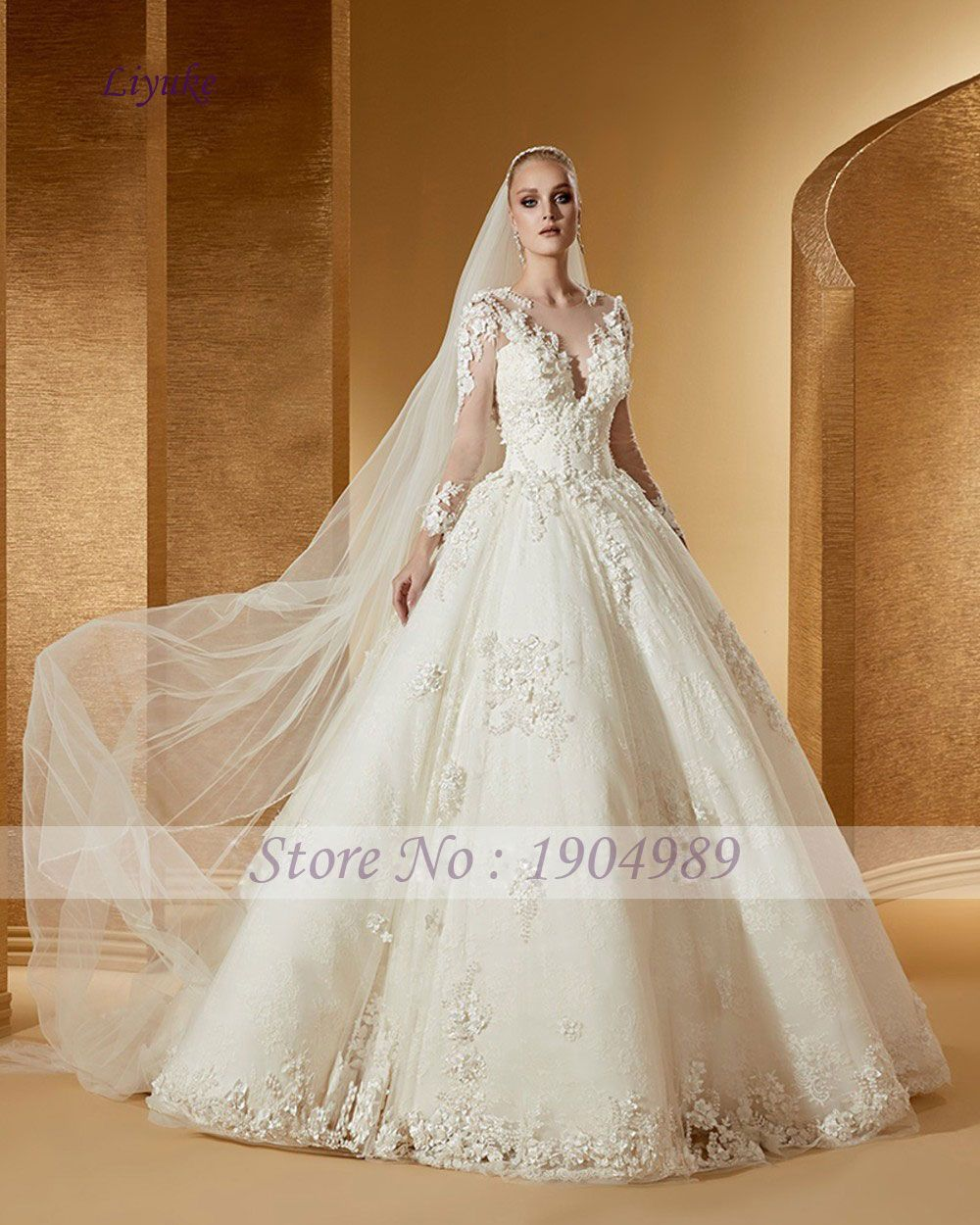 Elegant tulle scoop princess wedding dresses beading d appliques