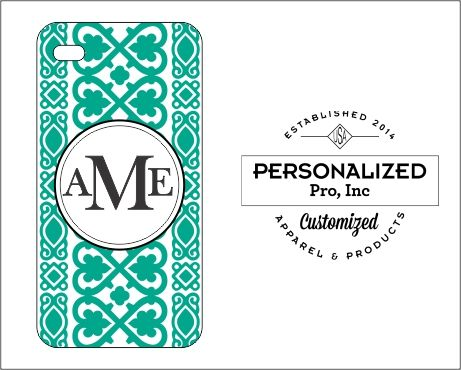 Turquoise Heart Lace Design with Monogram