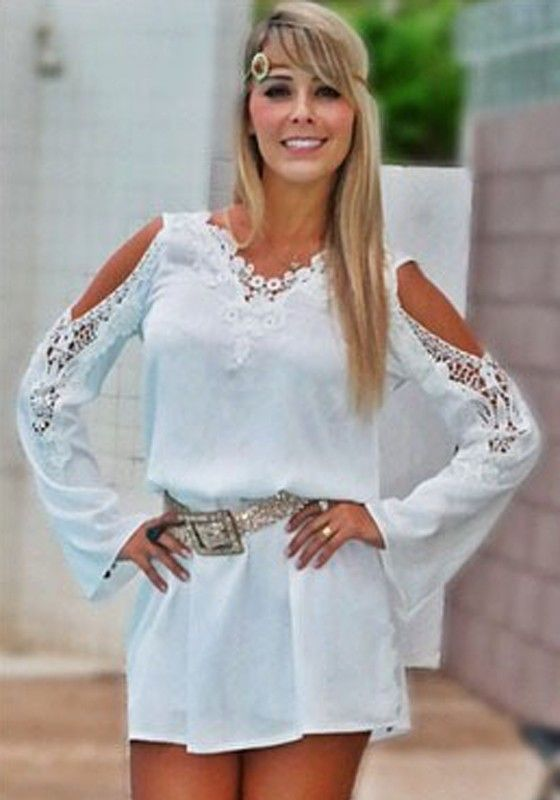 White Plain Hollow-out V-neck Split Sleeve Lace Dress