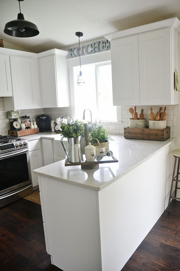 Average size kitchen white liz marie blog early summer home tour kitchens countertop for Small bathroom countertop ideas