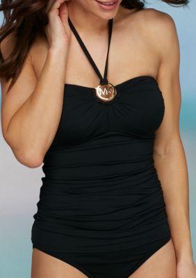MICHAEL Michael Kors Black Villa Del Mar Essentials Logo Ring Shirred Bandeaukini Swim Top