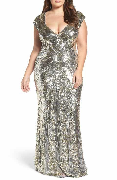 Gold sequined plus size dress sak