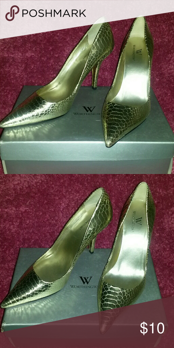 Worthington Gold Pump Women's, Size 8M, Gold Pump Shoes