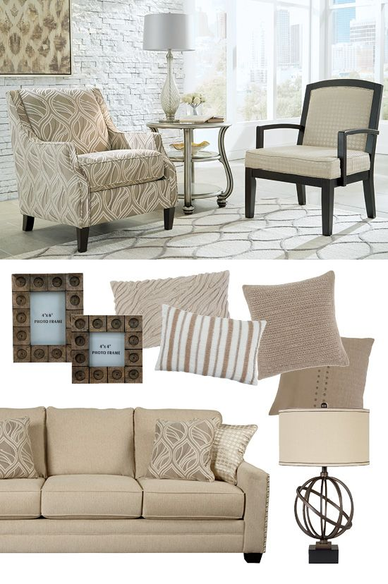 #AshleyFurniture - Freshen up your style with a variety of neutral colors and textures. Start with an off-white sofa and add pillows, lamps and accessories in the same color family. So easy! Mauricio Linen Sofa and Accent Chairs - Living Room Furniture - Signature Design by Ashley® - #Sofas #LivingRoom