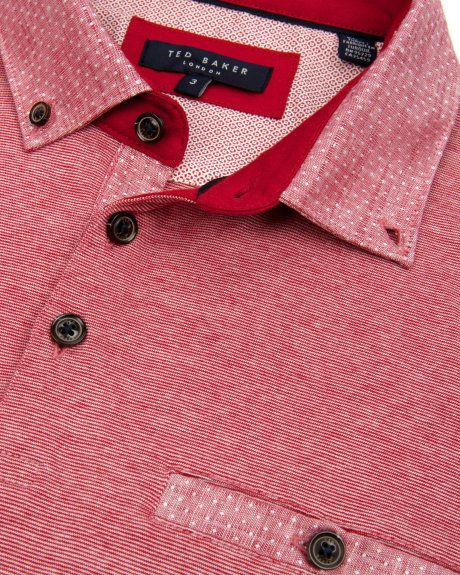 Linen collar polo - Red | Tops & T-shirts | Ted Baker UK