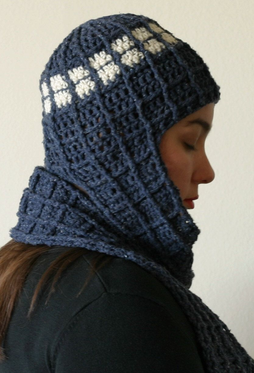 2 PDF Crochet Patterns, TARDIS Doctor Who inspired beanie w scarf ...