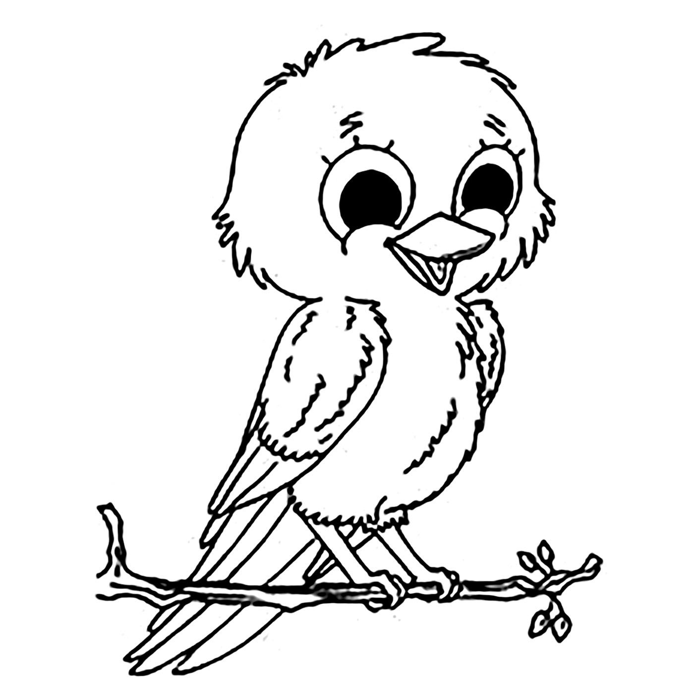 Birds coloring page with few details for kids, From the