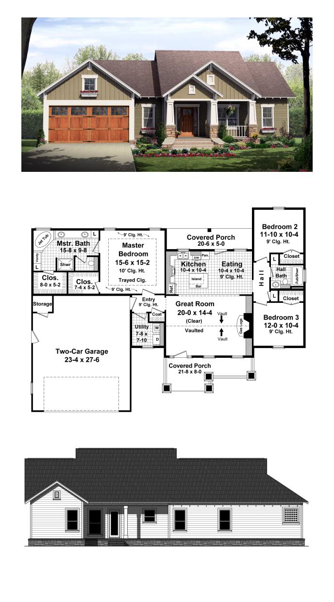 Cottage Style Cool House Plan Id Chp 49293 Total Living Area 1604 Sq Ft 3 Bedrooms 2 Bathrooms H Craftsman Style House Plans House Styles House Plans