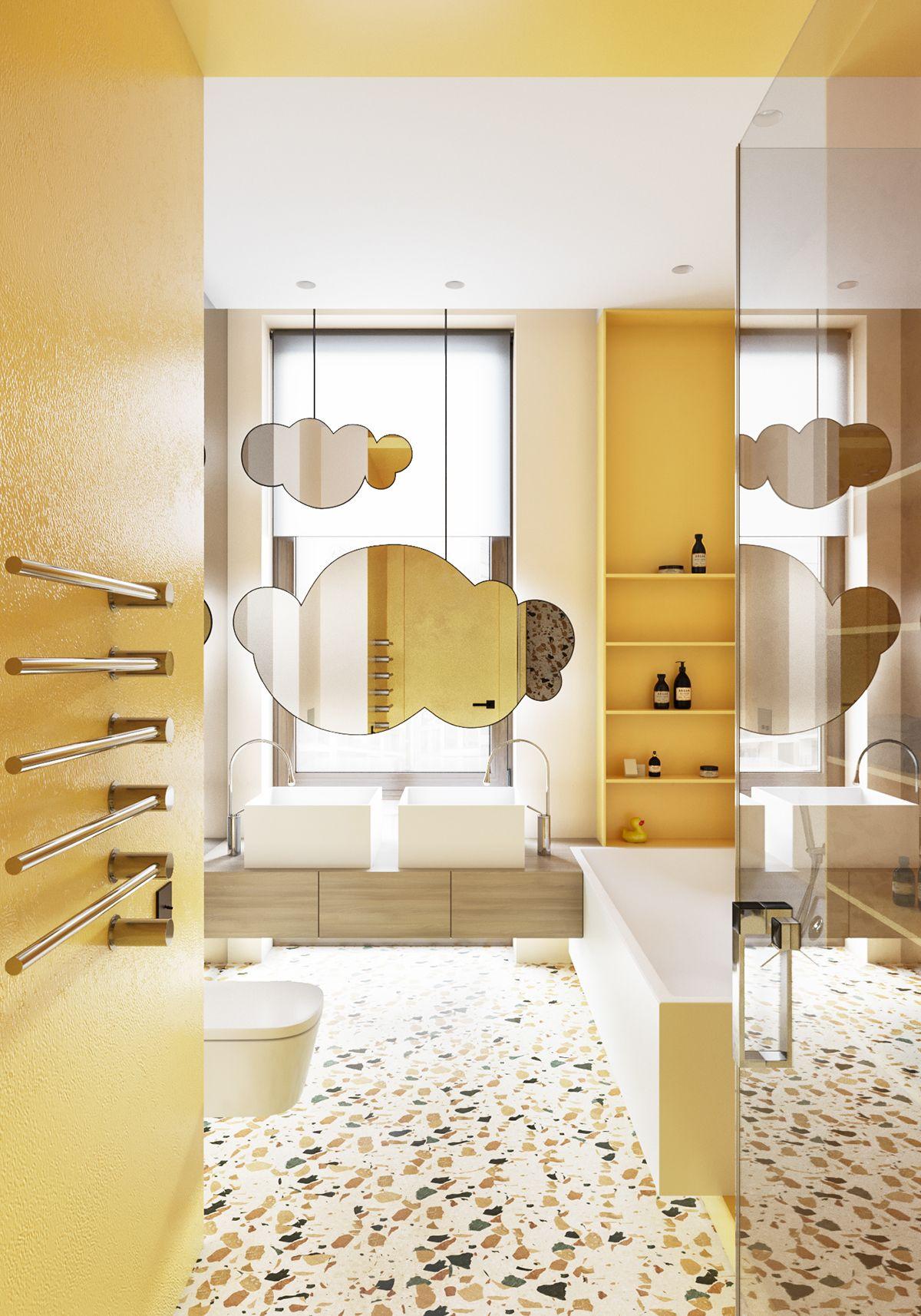 Gelbe fliesen bad ideen pvz  on behance  terrazzo  pinterest  architektur