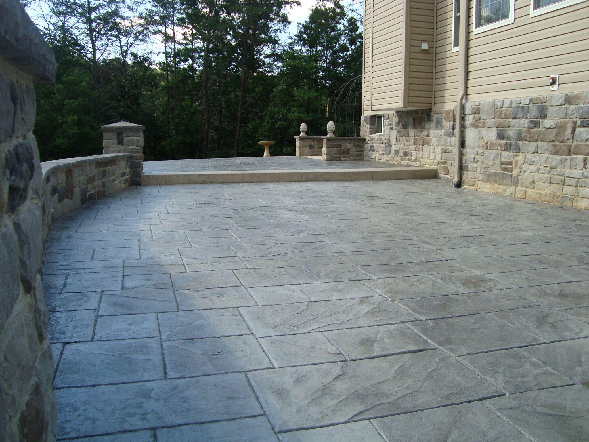 Large Ashlar Slate Stamped Concrete Brickform Fm 3150 Concrete Patio Designs Large Backyard